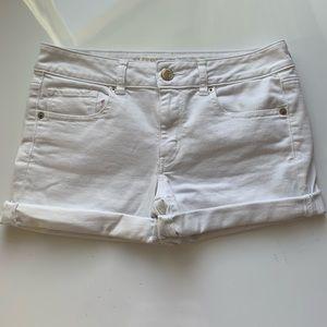 American Eagle Midi White Denim Shorts